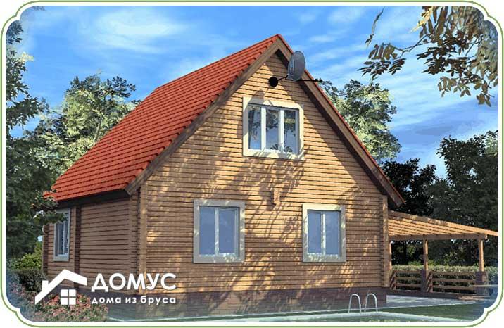 План частного дома с мансардой из бруса
