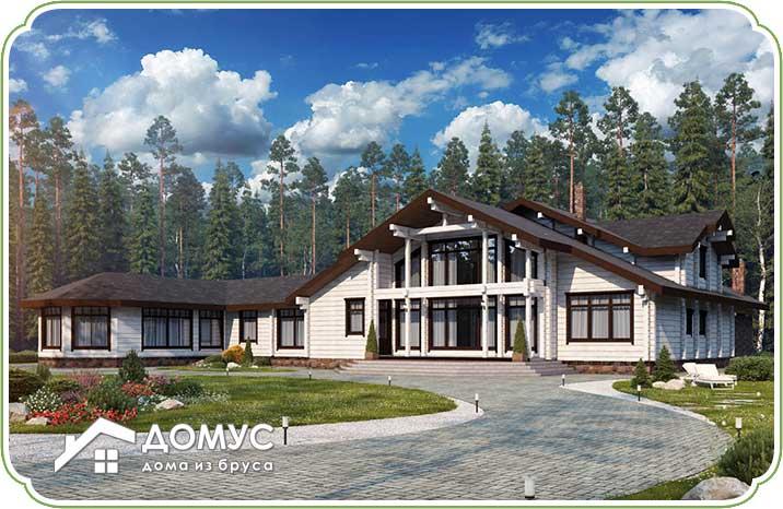 Двухэтажный дом с террасой из клееного бруса