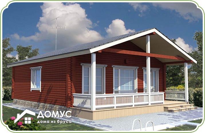 Одноэтажный дом с террасой из бруса